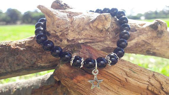 Black Agate Beaded Bracelet with Sterling Silver Star Charm