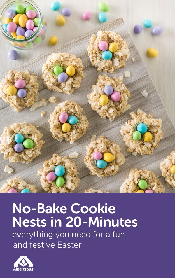 Easter dessert just got so much cuter (and delicious)! These No-Bake Cookie Nests are simple to make with just six ingredients including white chocolate chips, milk, quick cooking oats, unsweetened coconut and candy eggs for a festive topping! This Easter treat is a perfect sweet treat for the kids to enjoy and even help make. Find all the ingredients at your local Albertsons!
