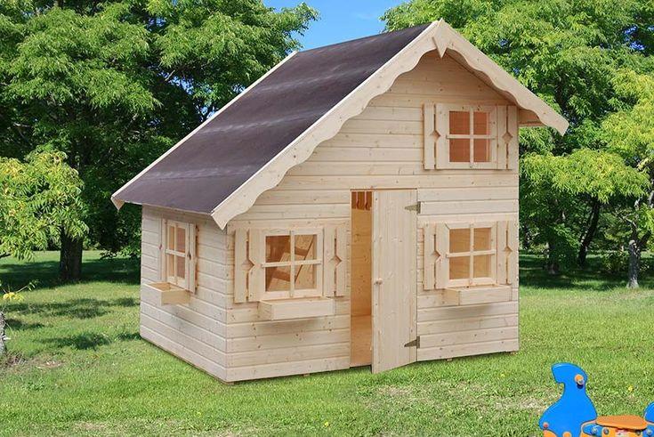 Kinderspielhaus Heidi aus Holz 220 x 180 cm mit Dachnische