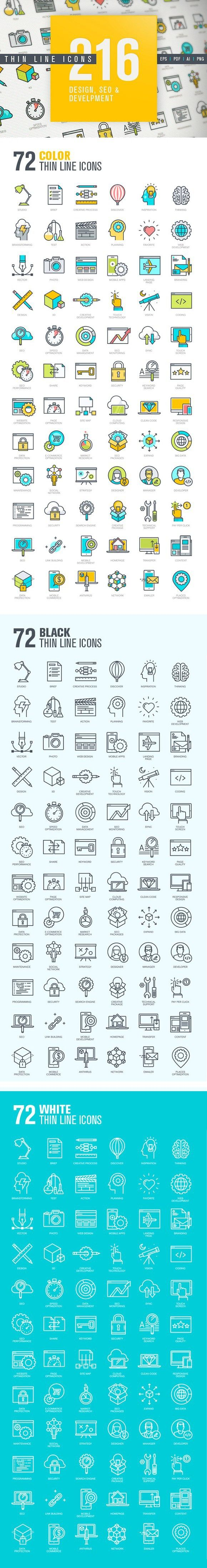 Thin Line Design & Development Icons. Business Infographic. $25.00