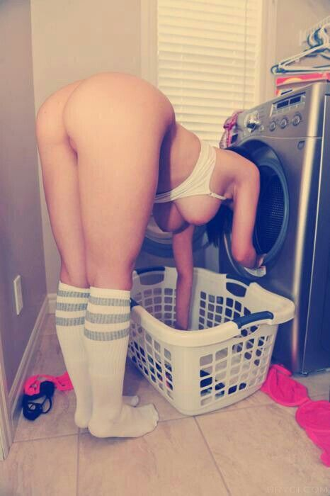Hot sexy naked doing laundry are absolutely