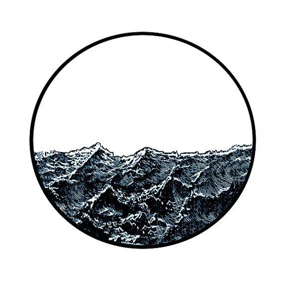 Geheimnis Ocean Circle Wellenlinien Drucken von jenlorang auf Etsy