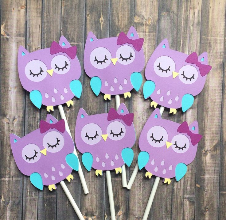 12 Owl Cupcake Toppers, Birthday Decorations, Purple Blue Owl, Baby Shower, Party  Decoration, Purple Owl Cupcake Toppers, Made To Order