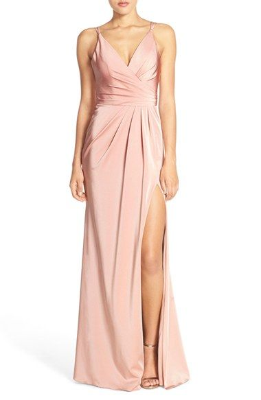 Faviana Ruched Satin Gown