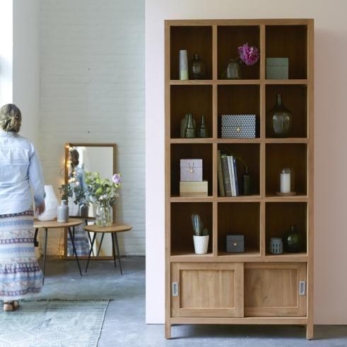 Bibliotheque En Teck 215 Cm Meubles De Rangement De Salon Bucherregal Massivholz Regal Bucherregal Aus Holz