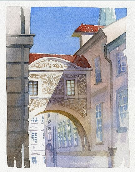 arch - prague by Thomas W Schaller Watercolor ~ 11 inches x 8.5 inches