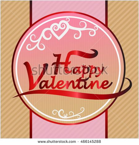 Happy valentine logo in pink background with box texture