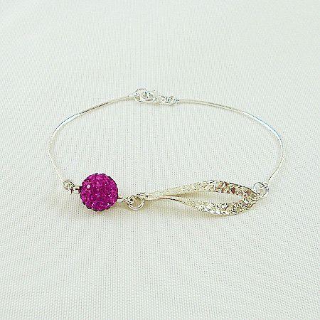 Sterling Silver Bracelet, Elegant Silver Bracelet, Party Time Silver Bracelet, Trendy Jewelry, Bracelet with Swarovski Discoball by modotikon on Etsy