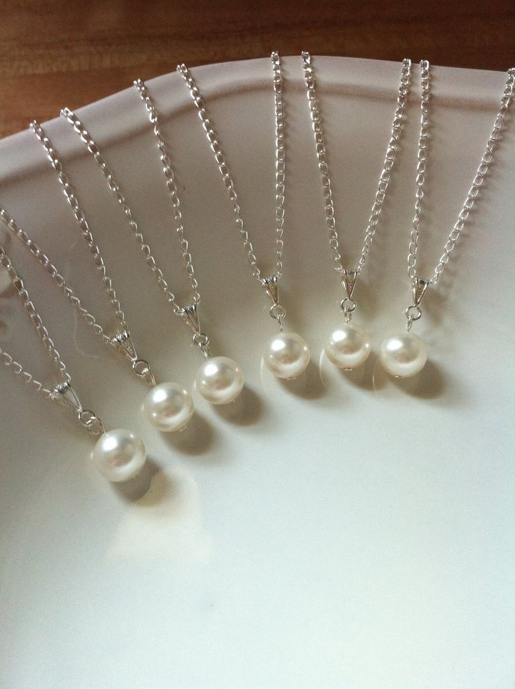 Set of 8 Bridesmaid Pearl Pendant Necklaces, Bridesmaid Necklaces, Bridal Party Gifts 0088. $72.00, via Etsy.