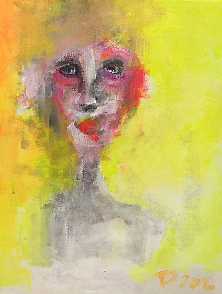 Wait a minute, Acrylic on canvas, 40x50, 2016, Painting, Modern art, Portrait, Colour, yellow, red, Artist