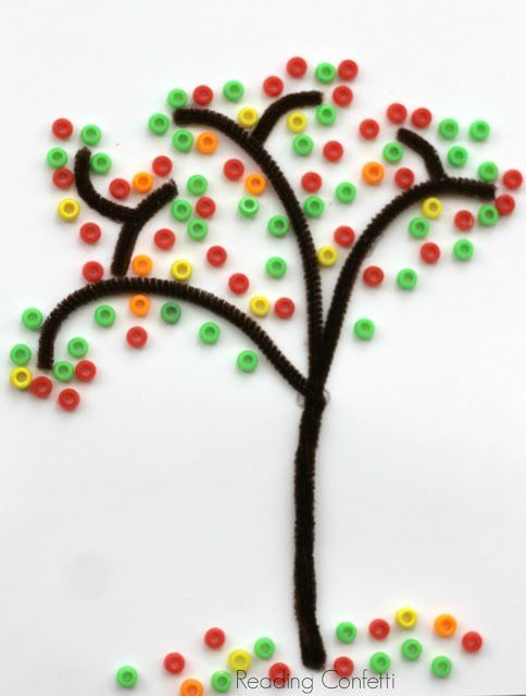 Fall tree with pipe cleaners and beads. I think I would use Fruit Loops instead.