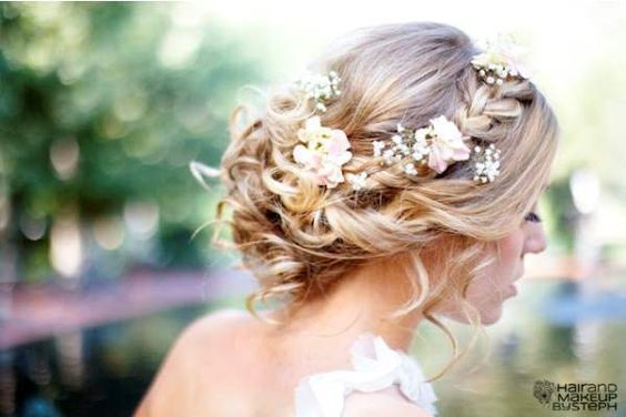 Braided wedding updo with flower crown | My Hairstyles Site: