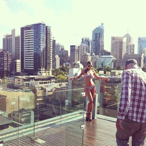 The beautiful Jayde in a Totem bikini poses with Sydney City as her backdrop! Behind the scenes at the JETS Preview Collection 2013 Campaign Shoot
