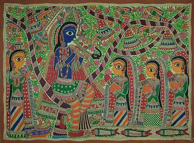Madhubani painting, 'Fun With Krishna' by NOVICA