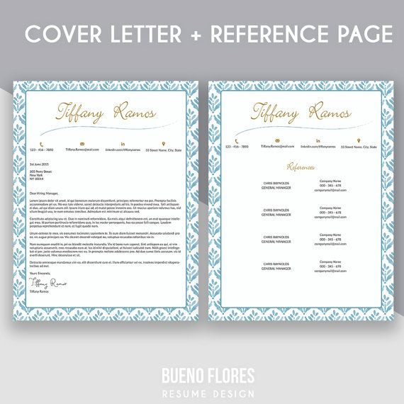 """Introducing """"Tiffany Ramos"""", an elegant feminine multipurpose design, which includes a two page resume/cv , matching cover letter and reference page. Resume design by Bueno Flores Design"""