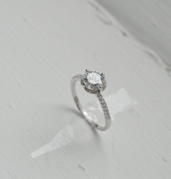 Thin Halo Engagement Ring Solitaire Engagement Ring Promise Ring Thin B
