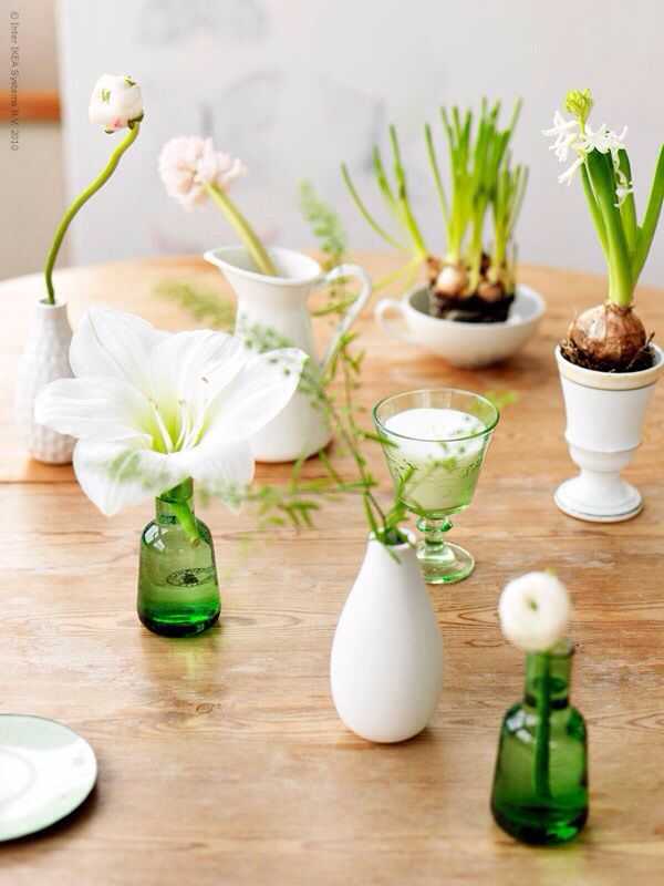 More key INSPO for our table settings but with pale blue green glass and brown glass