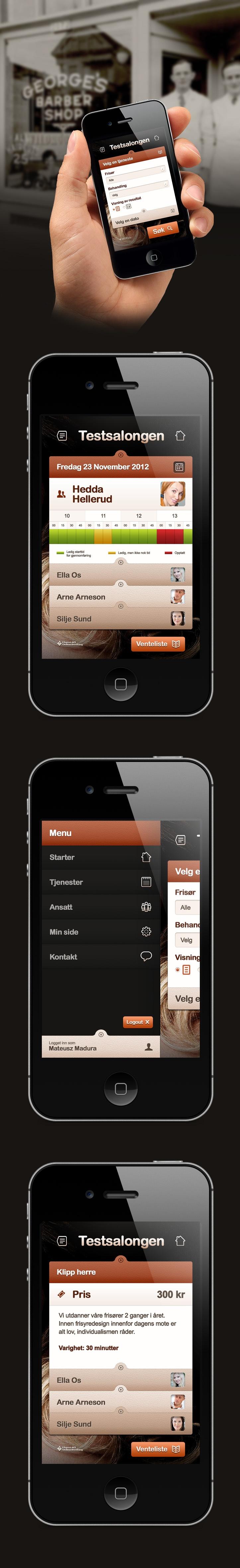 Testsalongen by Vision Trust , via Behance *** Mobile version of the Norwegian website hair salon.