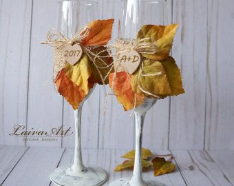 Irish Wedding Wine Glasses Wedding Champagne Flute by LaivaArt