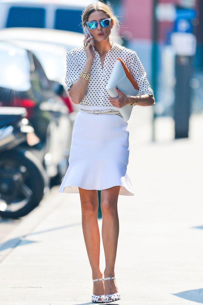 white fluted skirt