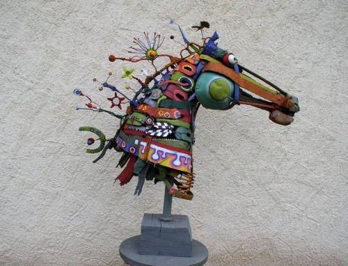 Art Assemblage Sculpture   cheval assemblage,gérard collas -sculpteur,sculpture,art singulier