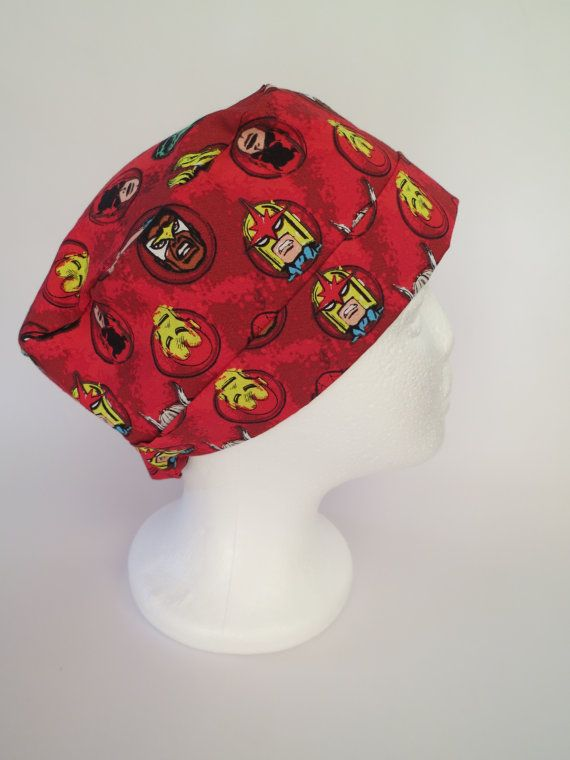 Scrub Hat Theatre Nurses Surgical Cap   Red by SnazzyScrubHats