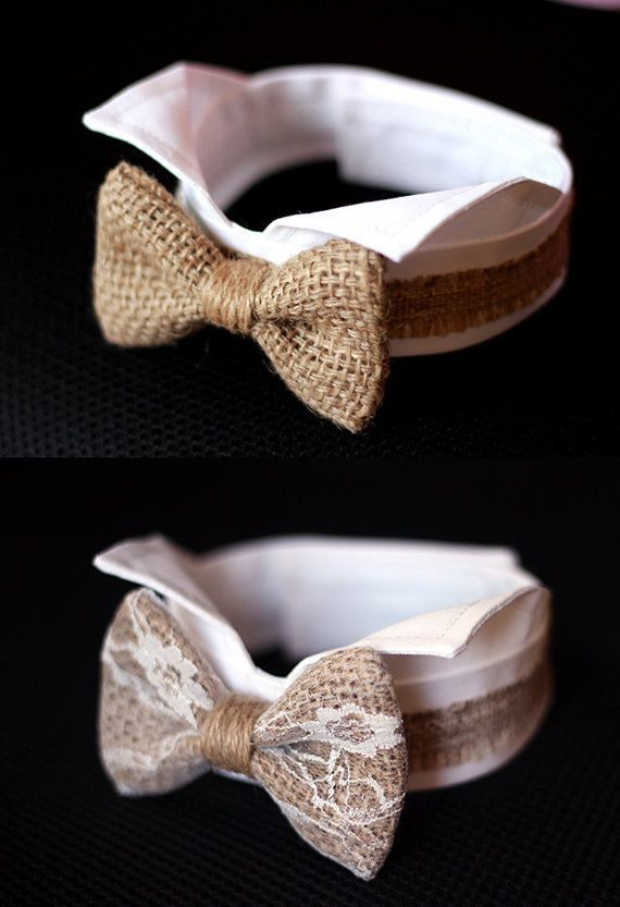burlap dog bow tie collar burlap wedding dog by TwinkleMingle