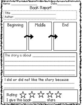 This is a great book report template for elementary school students. It is designed to help young readers identify and illustrate story elements, summarize and evaluate the story.  Students will identify the title, author, summarize the story, illustrate beginning, middle,end and evaluate why they like or did not like the story.