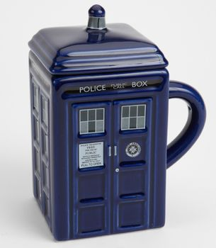Doctor Who TARDIS Mug - A cool ceramic mug disguised as a spaceship disguised as a police box. Perfect for enjoying a nice cup of tea after adventuring through time and space.