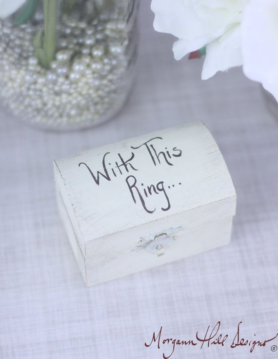 Ring Bearer Pillow Box Shabby Chic Wedding Decor Country Chic Custom Colors (Item Number 130045) $22.50
