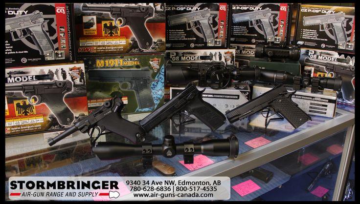 KWC P.08 Luger gas blowback 4.5mm CO2 BB pistol & ASG CZ P-09 Duty .177 CO2 pellet/BB pistol. Stormbringer Air-Gun Range and Supply, #Edmonton