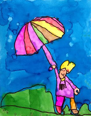 Art Projects for Kids: Veronica's Umbrella Girl. Painted by a kinder in my Watercolor class yesterday. I only wish my sample painting had this much charm.