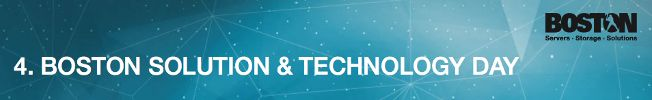 Save the date and join us for Boston Solution Day! On September 3, 2015 you will have an opportunity to learn more about Open-E JovianDSS in combination with Boston's storage systems. This year, the event takes place in Munich, Germany and will accompany the European Supermicro Summer Event, dedicated to topics such as Hyperconvergence, Cloud Computing, and Software-defined Storage. Register here: http://www.open-e.com/r/q4q/