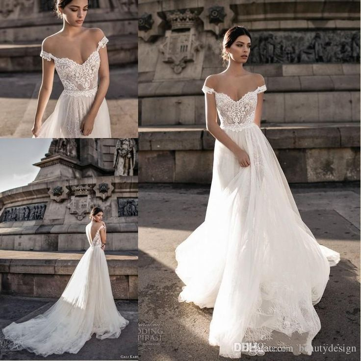 Gali Karten 2018 Sexy Wedding Dresses Sheer Backless Bohemian Off The Shoulder Lace Zipper Back Appliqued Wedding Gowns BA7125