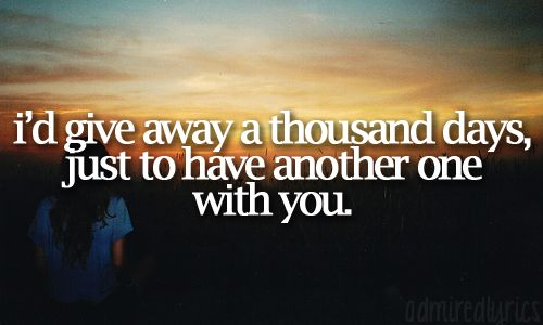 In a heartbeat! I know we'll have more days, and don't worry, I will be here when you're ready :)