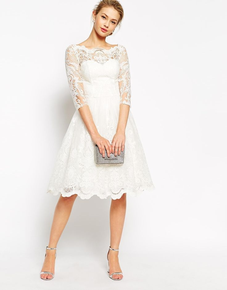 Image 4 of Chi Chi London Premium Lace Midi Prom Dress with Bardot Neck and 3/4 Sleeve