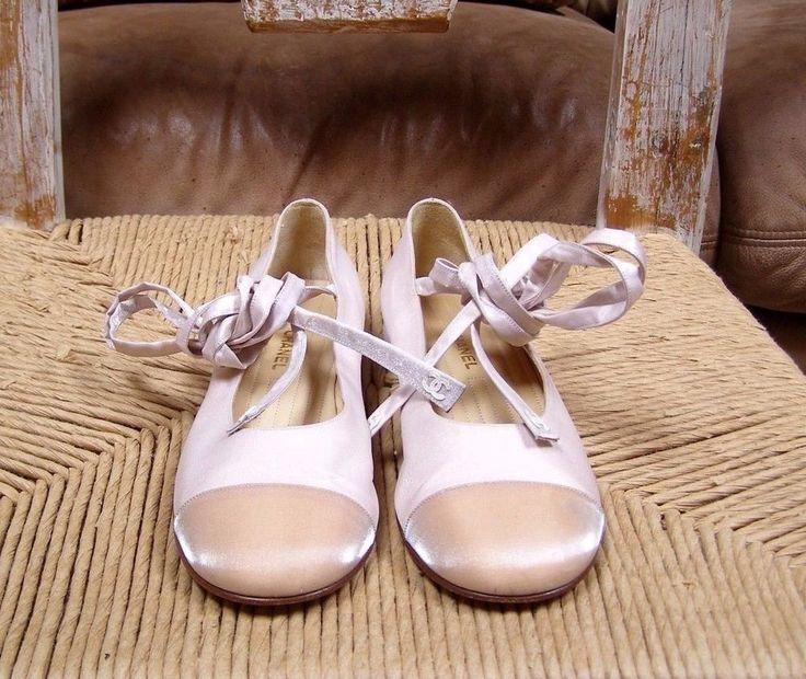 Chanel Blush Satin Cap-toe Ankle CC Logo Tie-up Ballet Flats Size 6.5 / 37 EU  #ToryBurch #BalletFlats