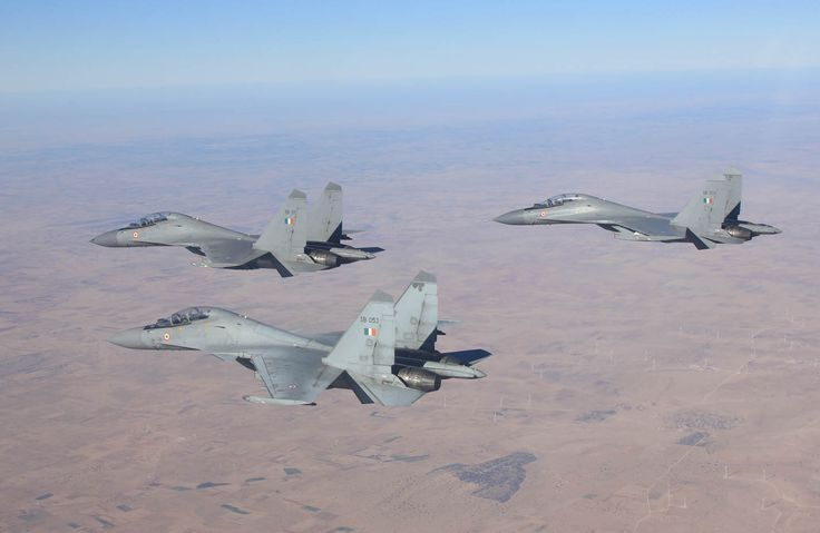 "A three-ship formation of Indian Air Force Sukhoi Su-30MKI ""Flanker-Hs"""