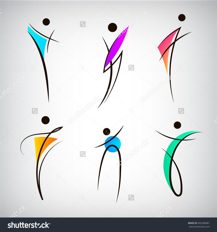 Vector set of figure line silhouette logos, human, men, sport and dancing signs. Abstract stylized people body
