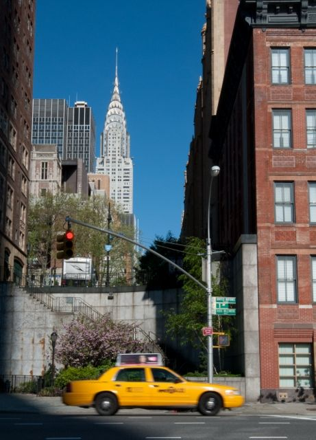 Yellow taxi and Chrysler Building, NYC