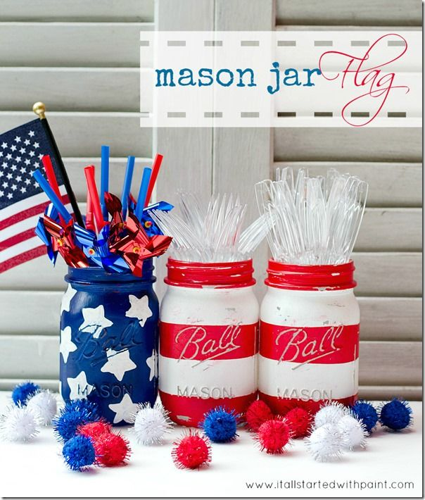 Patriotic masons jars