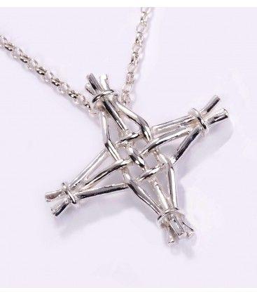 St Brigids Cross Small Cross Pendant on 2 bell chain
