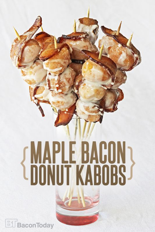 Baconfest 2016 someone made these with 1 donut hole on a tooth pick... yummy Maple Bacon Donut Kabobs