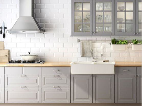 Grey Kitchen Cabinets, White Backsplash, possibly an accent for a hutch or something?