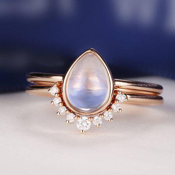 Morganite Engagement Ring Vintage Rose Gold Diamond Wedding ring set Women Bridal Jewelry Pear Shaped Cut Stacking Alternative Anniversary – I want…