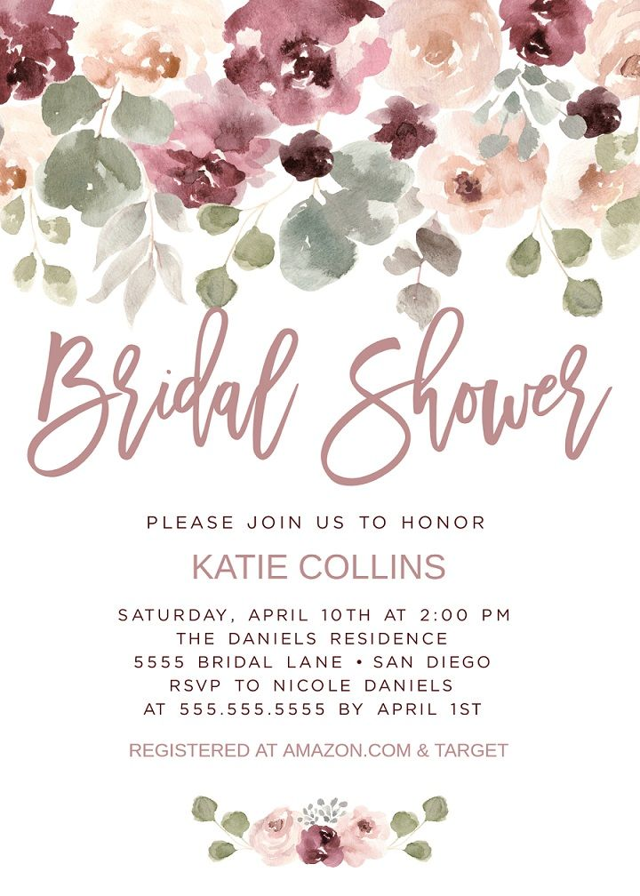 dusty rose bridal shower invitation invite mauve pink floral