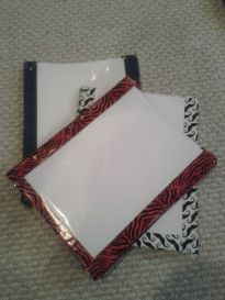 Cheap whiteboards: Cardstock (color or white) in a page protector (duck tape cute but optional)--can slip graphic organizers, etc., in sleeve.