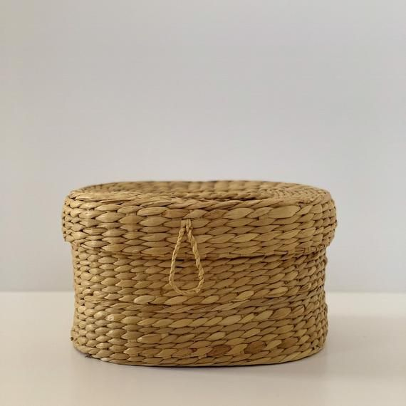 Vintage Woven Straw Grass Lidded Basket Oval Wicker Storage