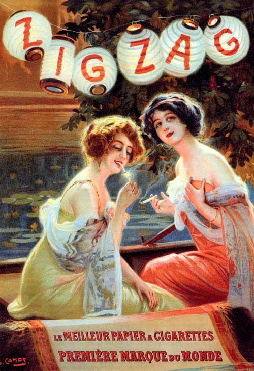 ZIG ZAG BALLON FASHION GIRLS SMOKING CIGARETTES PARTY FRENCH VINTAGE POSTER REPO #Vintage
