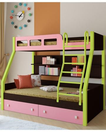 РВ мебель Рио каркас венге/салатовый розовая  — 21900р. -------- Двухъярусная кровать Рио каркас венге/салатовый розовая РВ мебель позволит вам значительно сэкономить жизненное пространство и обеспечить два полноценных спальных места.